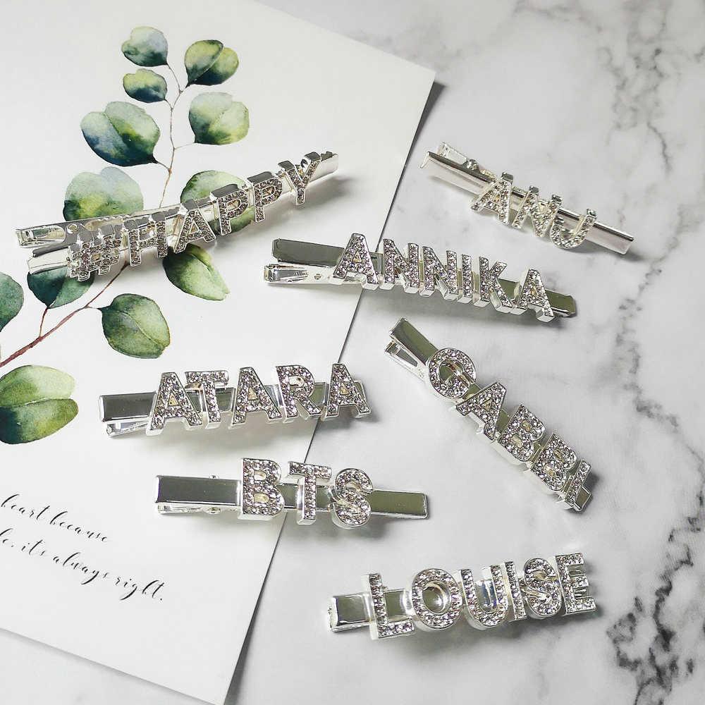 Einzigartige Benutzerdefinierte Wort Buchstaben Haarspange Personalisierte Haar Pins Angepasst Haar Clip Kristall Haar Bobby Pin Haar Schmuck Zubehör