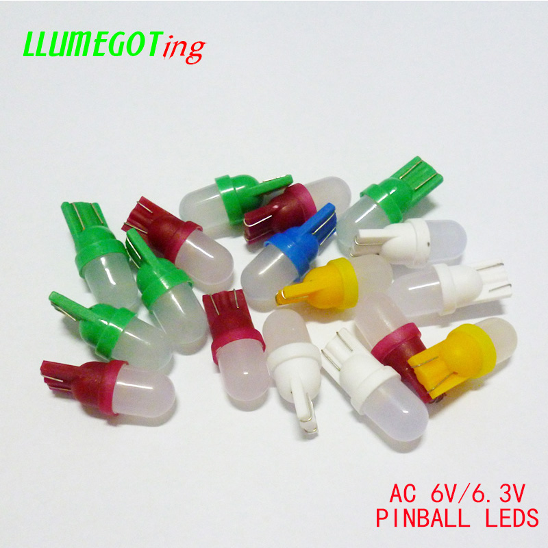100pcs 194 T10 #555 Wedge Base With Frosted Len Various Colour Available Non Polarity AC DC 6V 6.3V Pinball Game Machine Leds