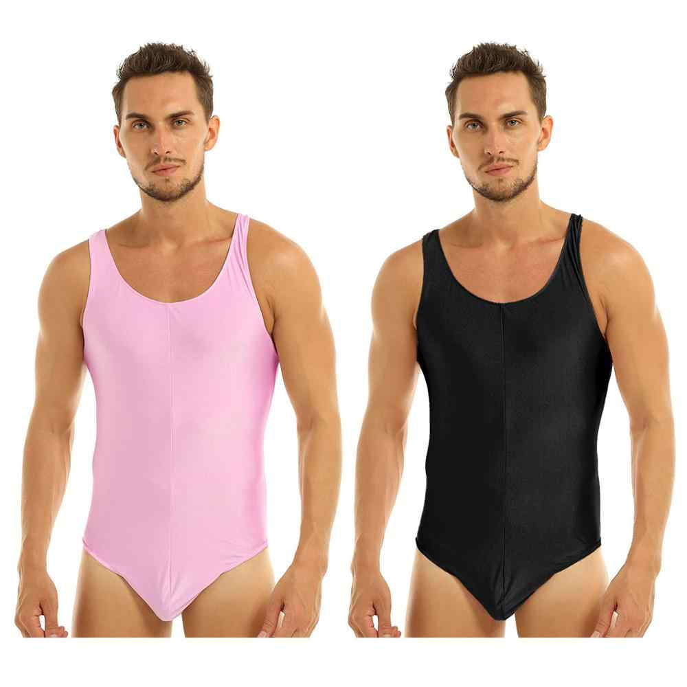 FEESHOW Mens Stretch Swimsuit Leotard Bodysuit Underwear Bikini Thongs