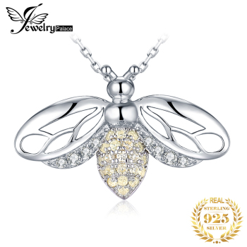 JPalace Bee CZ Silver Pendant Necklace 925 Sterling Silver Choker Statement Necklace Women Silver 925 Jewelry No Chain natural amethyst pendant necklace 925 sterling silver gemstone choker statement necklace women silver 925 jewelry no chain
