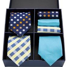Novel design tie set silk 3type Plaid Dot Solid men 7.5 cm gift box & handkerchief GL-07