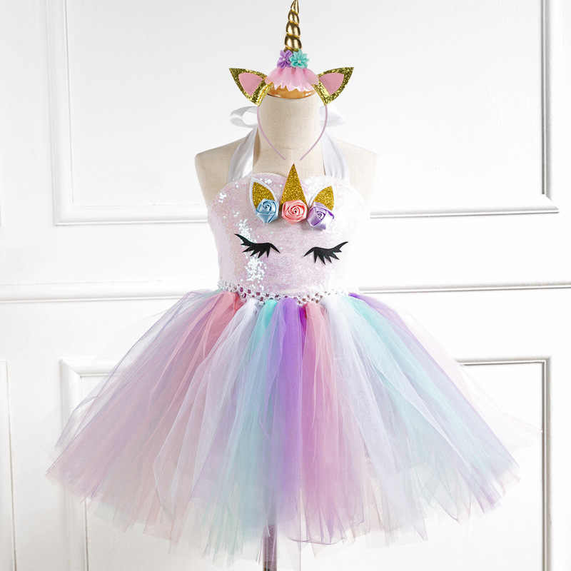 Girls Unicorn Costume Dress Fancy Up Kids Rainbow Party Dresses Princess Cosplay Dressing Up With Headband Wings Halloween Gift