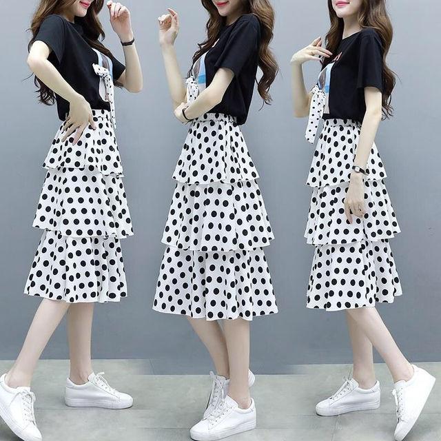 Summer Big Size Slim T-shirt Skirts Set for Women 2021 New Girl Student Sweet Print Polka Dot Dress Fashion Ribbon Bow-knot Tops 2