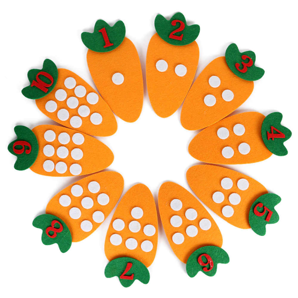 10 Stks/set Leren Montessori Materialen Kids Ontwikkeling Educatief Speelgoed Voor Kinderen Handgemaakte Diy Wortel Digitale Wiskunde Leuk Spel