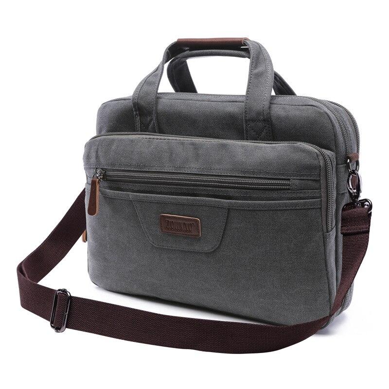 The Canvas Men's Briefcase Office Shoulder Bag Man Laptop Computer Bag Men Organizer Document Holder Briefcases