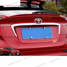 lsrtw2017 carbon fiber abs car rear trunk trims for toyota C-hr 2016 2017 2018 2019 2020 CHR stainless steel silver