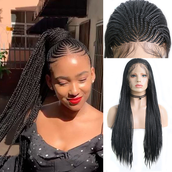 Charisma Long Box Braids Braided Wigs Heat Resistant Synthetic Lace Front Wig for Women with Baby Hair Cosplay Wigs Black Wig long synthetic african american wigs heat resistant synthetic lace front wig baby hair for black women lace wigs wholesale price