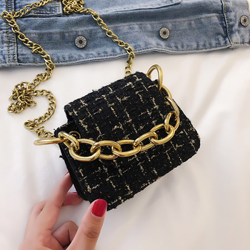 Fashion woolen shoulder bag fit for autumn and winter crossbody bag with anti-oxidation chain mini phone bag handbag