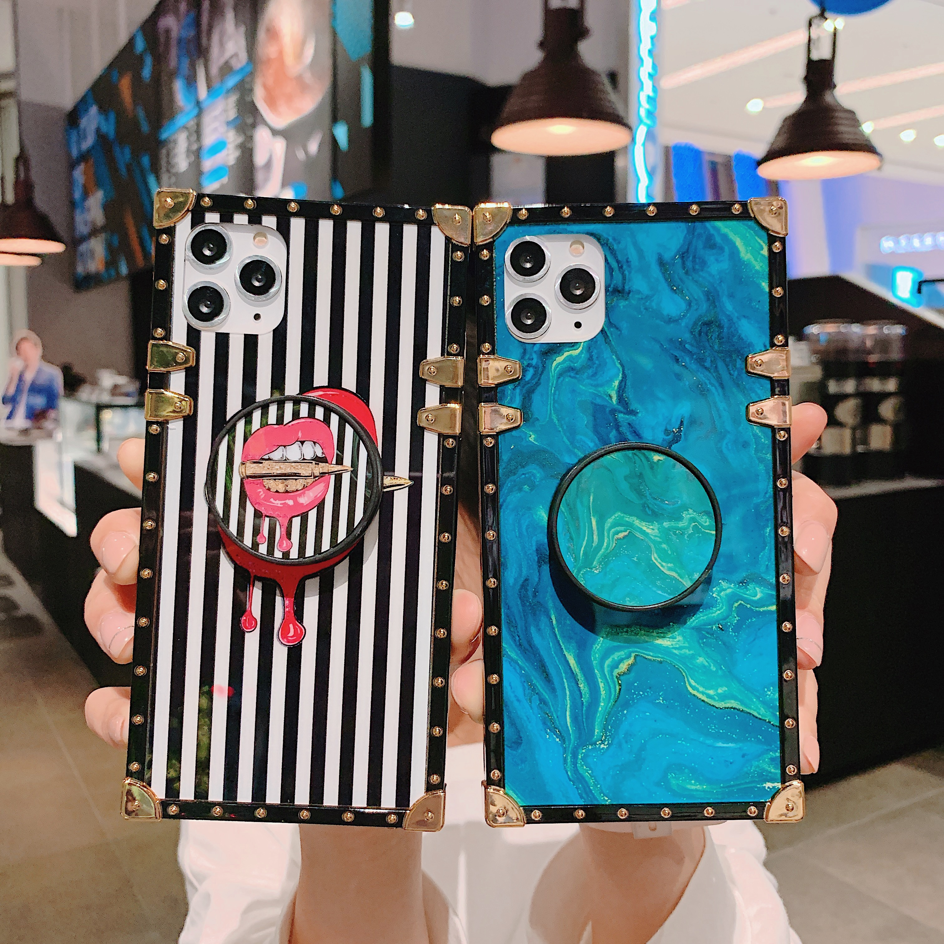 <font><b>Case</b></font> For Samsung Note10 Plus S10 Plus Cover Square <font><b>Sexy</b></font> Red Lip Stripe Girly Ring Stand <font><b>Case</b></font> For Samsung Note9 8 S9 <font><b>S8</b></font> Plus Capa image