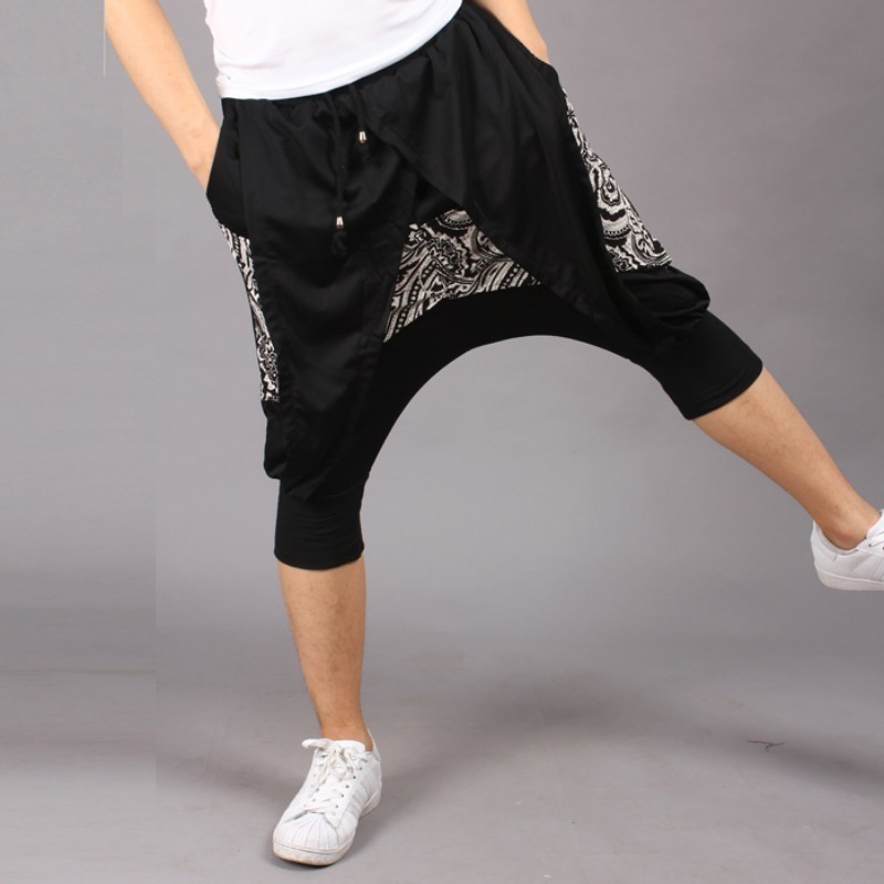 Vintage Personality Printed Summer Mens Calf Length Harem Pants Drawstring Waist Fashion Casual Male Loose Trousers Plus Size