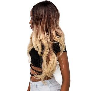 Image 2 - Ombre sarışın renk dantel ön peruk siyah kadınlar için X TRESS uzun doğal dalga sentetik dantel peruk doğal saç çizgisi ile orta kısmı