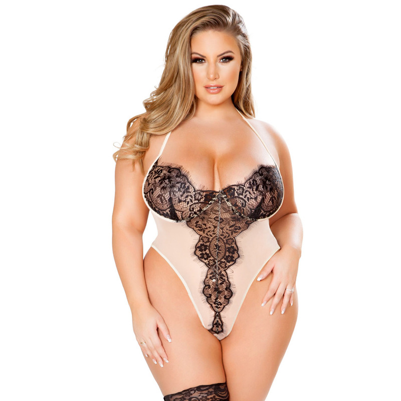Women Sexy Erotic Lingerie Lace Sleepwear Dress Transparent Hollow-out See Through  Underwear Night Gown 3-5XL Plus Size