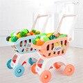 28 Teile/satz Kinder Große Supermarkt Warenkorb Trolley Push-Auto Spielzeug Korb Simulation Obst Lebensmittel Täuschen Spielen Haus Mädchen Spielzeug