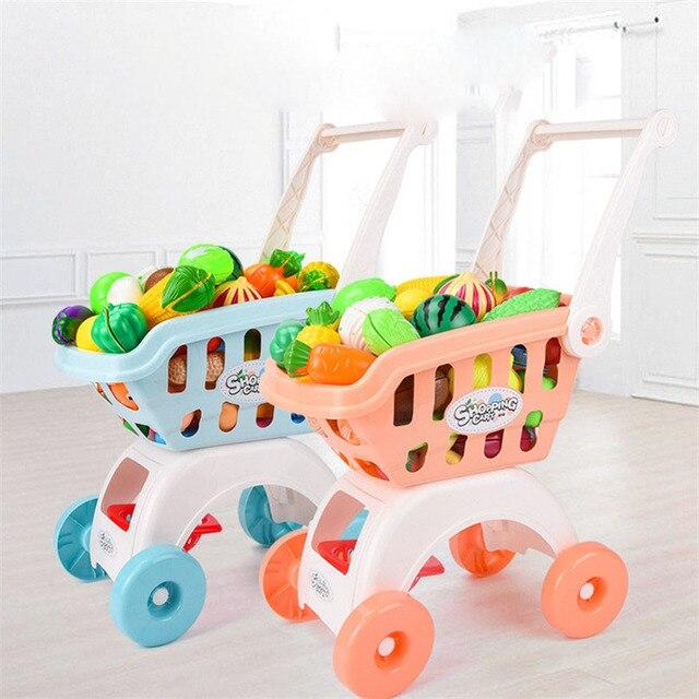 28Pcs/set Kids Large Supermarket Shopping Cart Trolley Push Car Toys Basket Simulation Fruit Food Pretend Play House Girls Toy