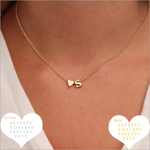 A-Z/ 26 heart letter necklace tiny heart dainty Initial necklaces couple letter necklaces for women fashion Pendant jewelry gift