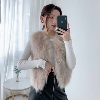Women 2020 Autumn Winter Real Fox Fur Vest Natural Fur Gilet Female Fashion Clothing Genuine Fox Fur Waistcoat Short Coat L847 image