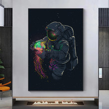 Fun Art Astronaut Playing Jellyfish In Space Canvas Painting Posters and Prints Modern Wall Art Pictures for Living Room decor