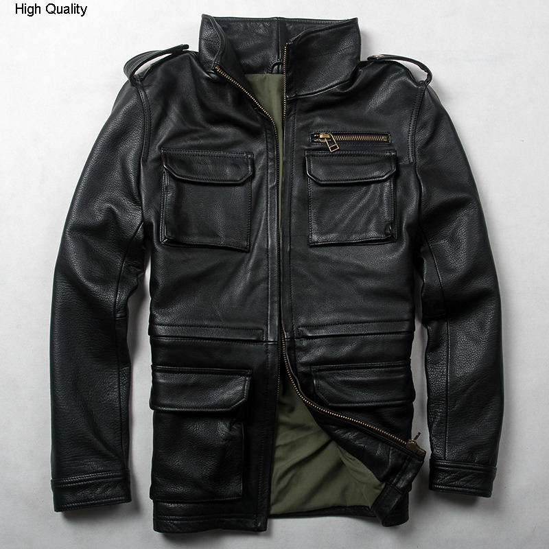 new arrivals Men's M65 cow leather jacket military uniform Style black genuine leather jacket men spring leather coat male
