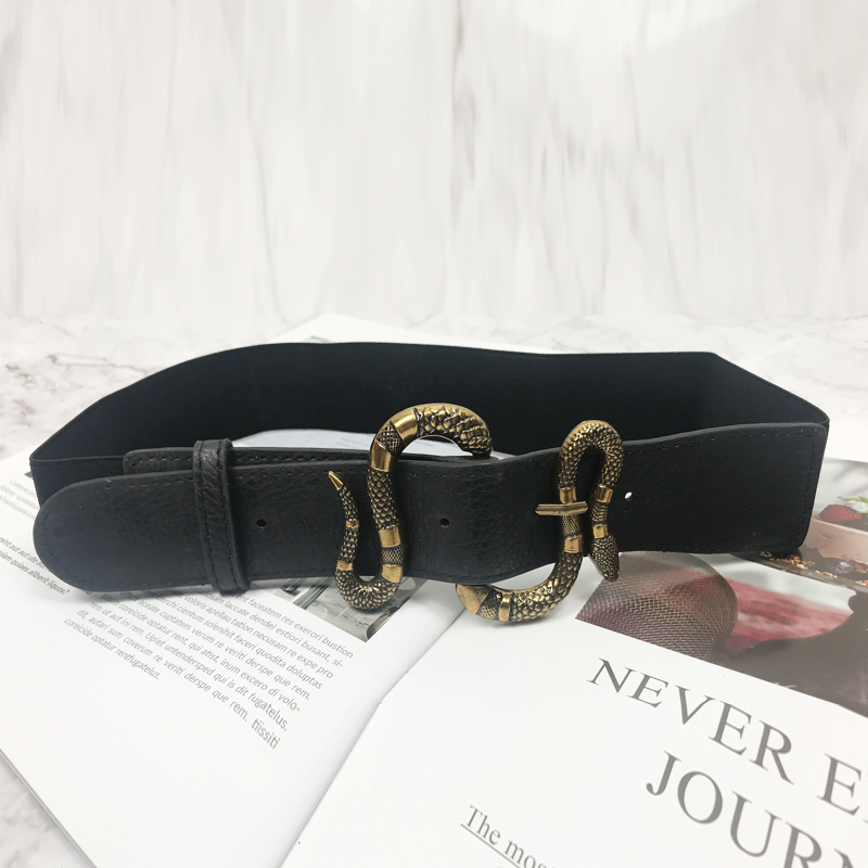 Elastic Waist Belt Wide Corset Belts For Women Snake Buckle Luxury Brand Cinturon Mujer G Plus Size Stretch Cummerbunds 2020