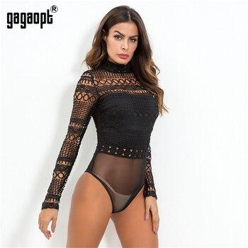 Gagaopt 2019 Autumn Lace Bodysuit Women Black Long Sleeve Sexy Bodysuit Ladies Hollow Out Bodycon Bodysuit Jumpsuit Overalls 3