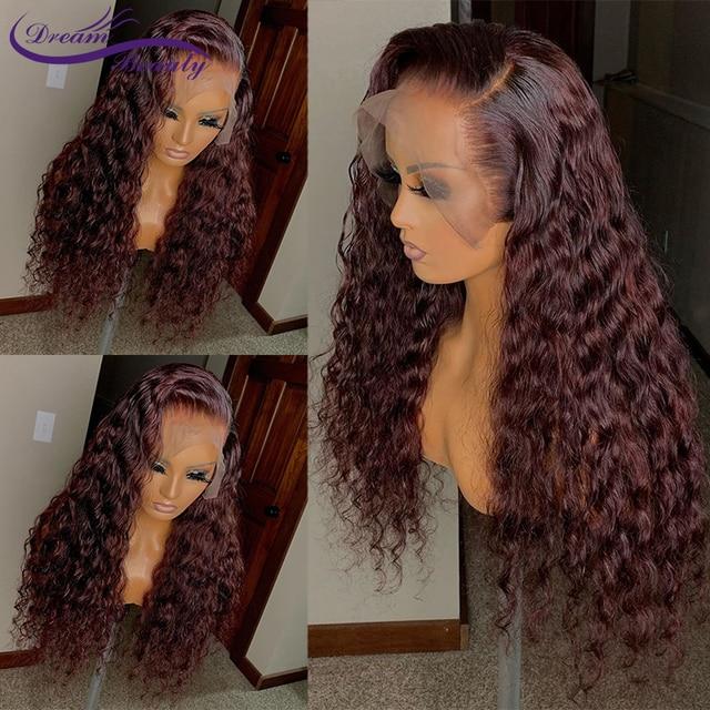 Pelucas delanteras de encaje granate 180% 13x6 cabello humano frontal de encaje coloreado # 99j Peluca de encaje predesplumado Dream Beauty de pelo Remy rizado brasileño