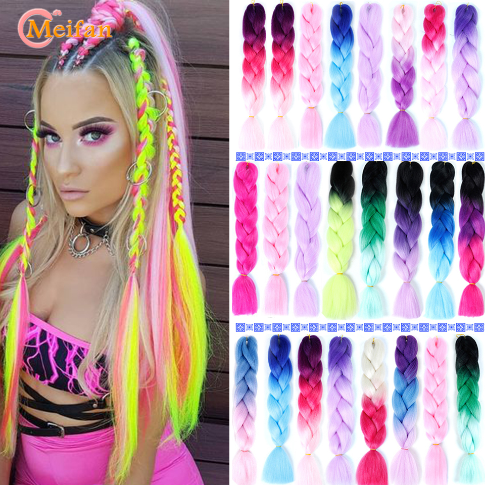 MEIFAN 24inch Pink Blue Purple Synthetic Ombre Crochet Hair Jumbo Braid Hair Soft Kanekalon Hair Braiding Hair Extension
