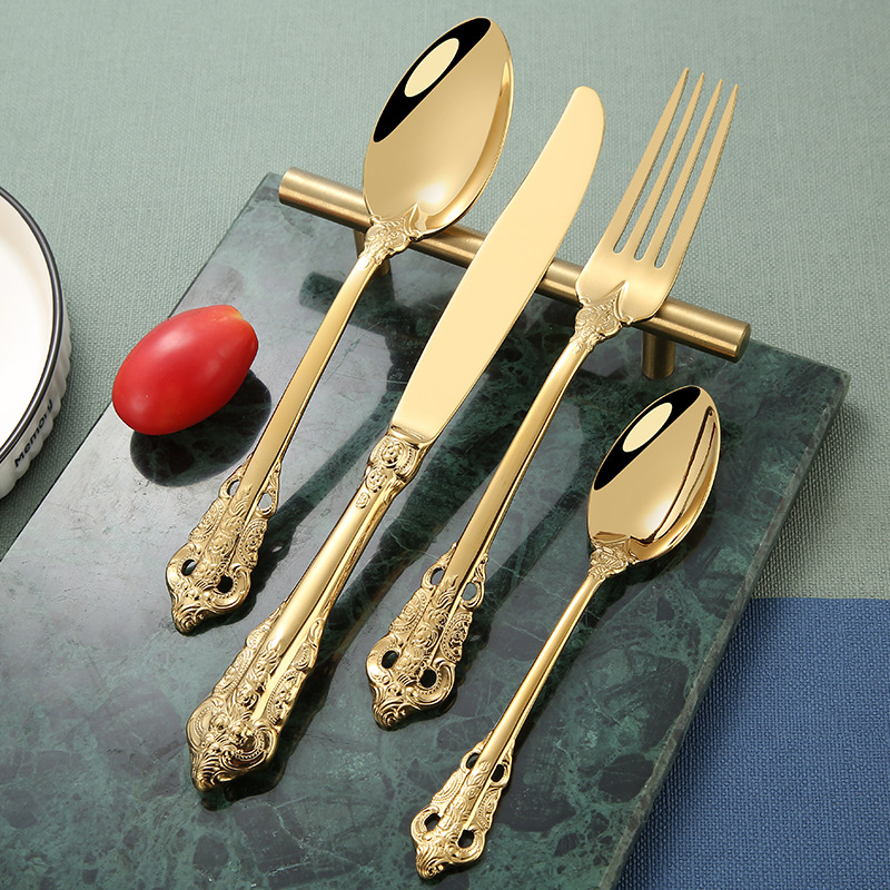 24Pcs Dinner Knife Fork Spoon Tableware Dinnerware Set 304 Stainless Steel Mirror Cutlery Set Flatware Silverware Hotel