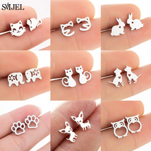 Small Cartoon Animal Earrings For Women Fashion Stainless Rabbit Owl Steel Paw Dog Cat Earring Dog Jewelry Children Studs