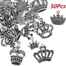 50 шт тибетское серебро смешанные стили Принцесса Корона шармы
