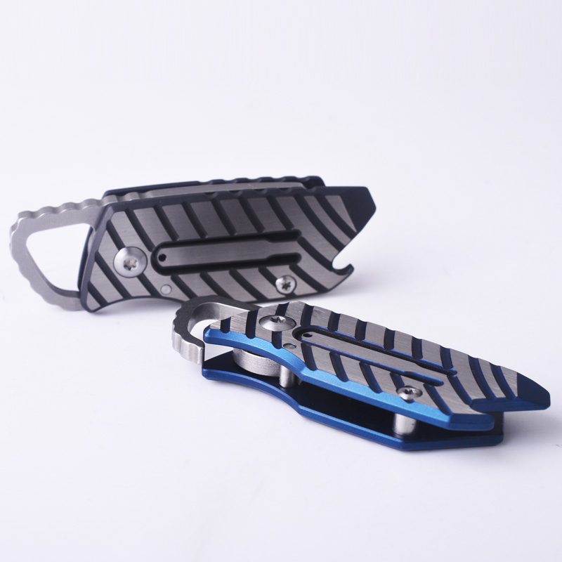 Titane hors de la boîte outil lame en acier couteau mécanique EDC pliant extérieur multi-fonction porte-clés ouvreur portable