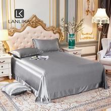 Lanlika Luxury Noble 100% Silk Silver Gray Beauty Flat Sheet Bed Linen Silky Queen King Bed Sheet Soft Pillowcase Home Textiles