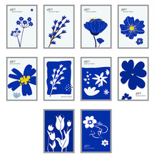 Cartoon Flower Poster Home Decor Modern Art Blue Color Picture Wall Art Canvas Painting Nordic Prints for Kids Domitory Design