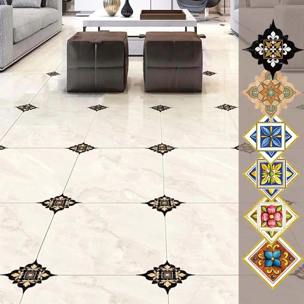 21pcs Self Adhesive Ceramic Tile Stickers Waterproof Art Diagonal Floor Stick Hs