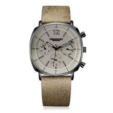 Мужские швейцарские кварцевые часы с кожаным ремешком, светящиеся водонепроницаемые наручные часы с календарем, спортивные наручные часы в большом стиле, подарочные часы