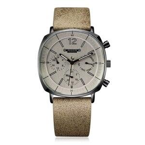 Image 1 - גברים רצועת עור שוויצרי קוורץ שעון גברים של לוח שנה זוהר עמיד למים שעוני יד איש גדול סגנון ספורט יד שעונים מתנת שעון