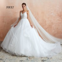 YOUXI Wedding Dress 2019 Ball Gowns Tiered Tulle Appliques Lace V Neck Weding Bridal Gowns Spaghetti Straps vestido de noiva