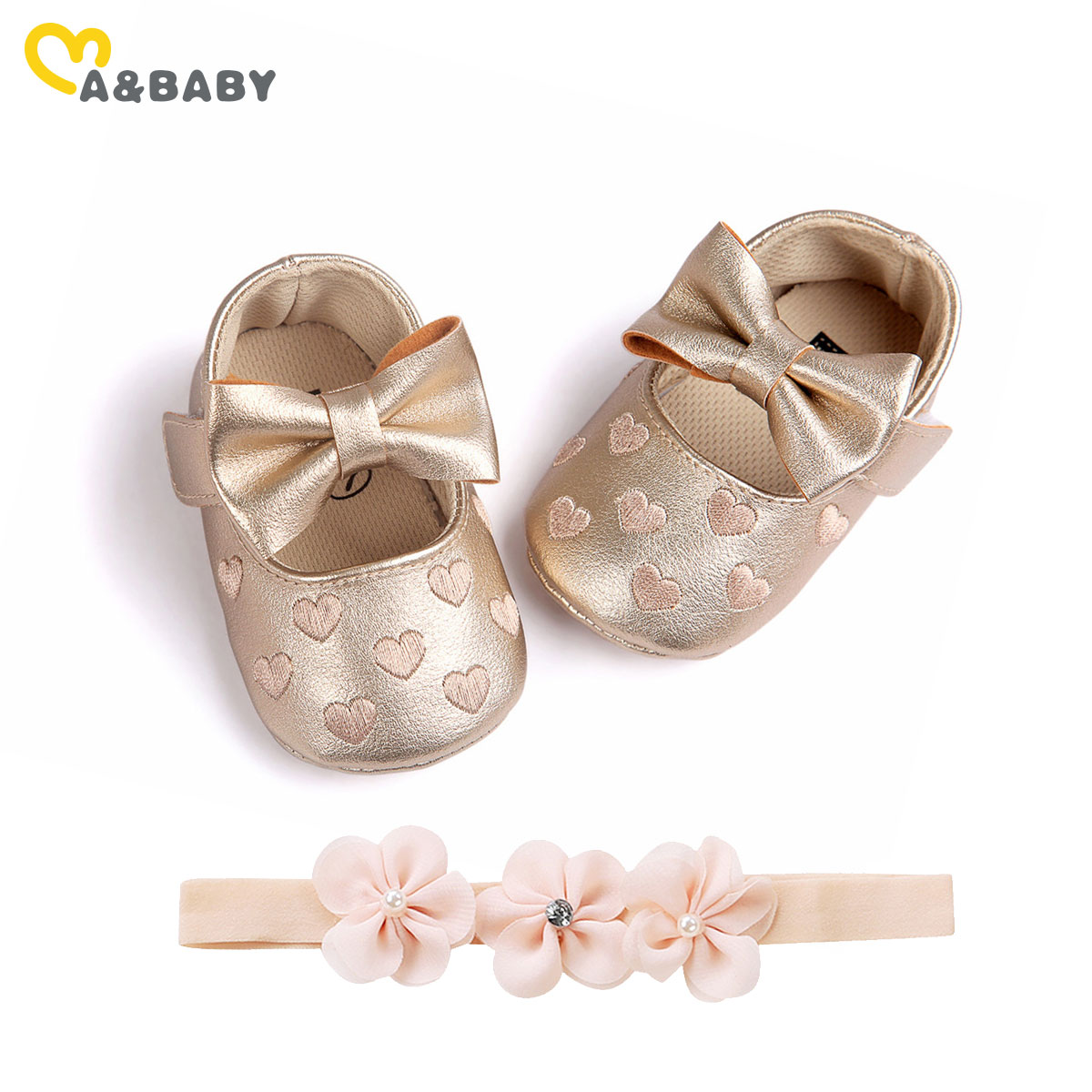 Ma&Baby 0-18M Newborn Infant Baby Girls Bow Shoes Princess Pu Leather Birthday Party Shoes Soft Crib Shoes