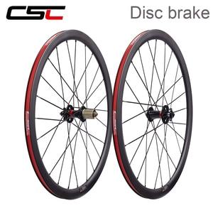 T800 Carbon fiber 700C Bicycle Wheelset Disc Brake 6 Bolt Clincher Tubular tubeless 24/30/38/50/60/88mm Cyclocross Bike Wheels(China)