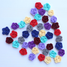 50pieces/lot 4CM Handmade Non-Woven Roll Rose Artificial Flowers Wedding Bouquet Brooch hand Accessories