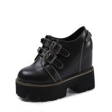 YeddaMavis Black Leather Shoes 12CM Platform Sneakers Women New Korean PU Muffin Bottom Womens Woman