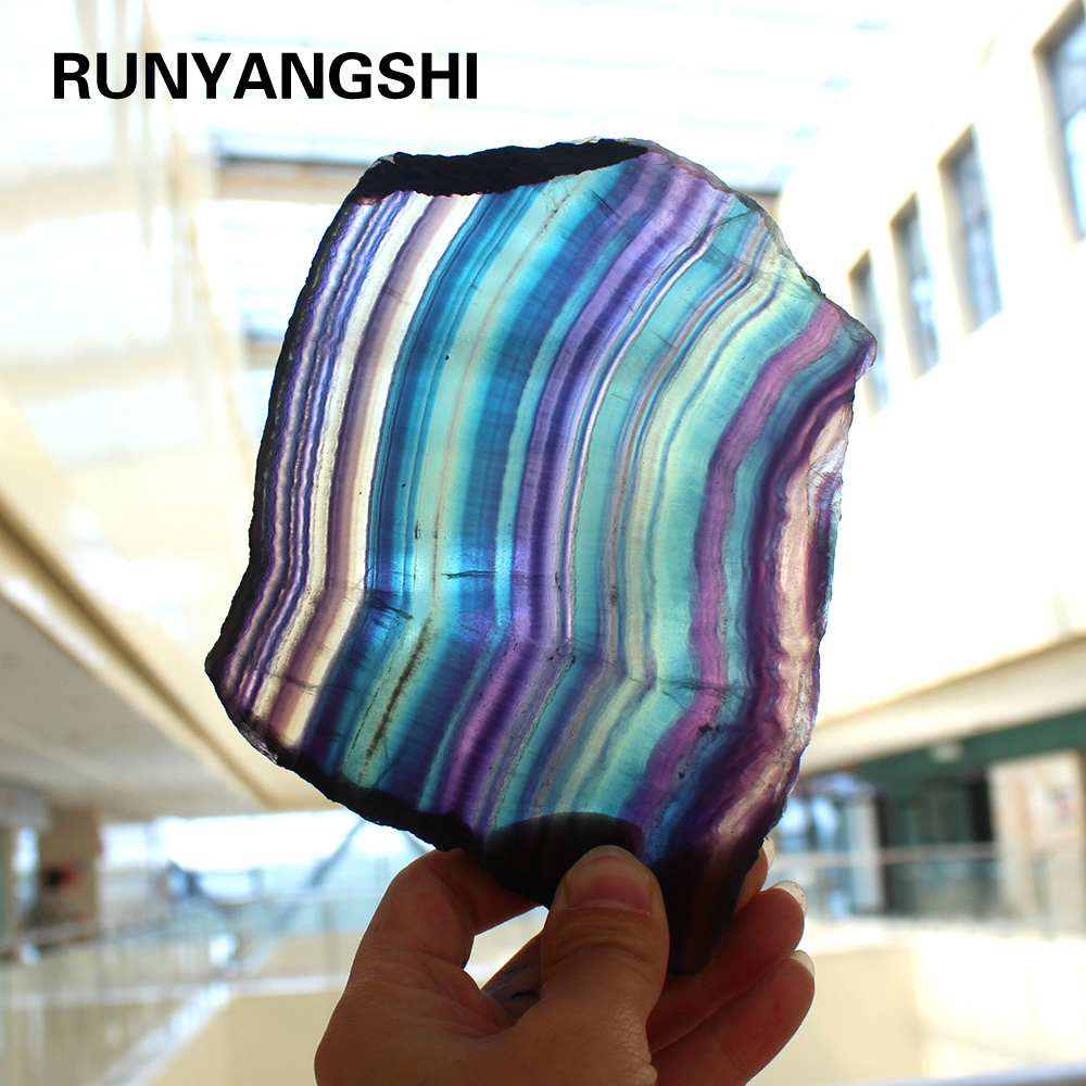 1PC natural fluorite tablets Quartz crystal Colorful stripes fluorite Rainbow stone can be used for home decoration ornaments