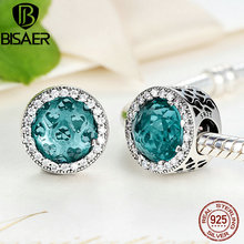 BISAER 925 Sterling Silver Green Radiant Hearts Openwork Charms fit Pandora Bracelet Fashion Jewelry Making HTC109 bisaer authentic 925 sterling silver openwork heart gift box charms fit for women 3mm bracelet and necklace fine jewelry gxc1029