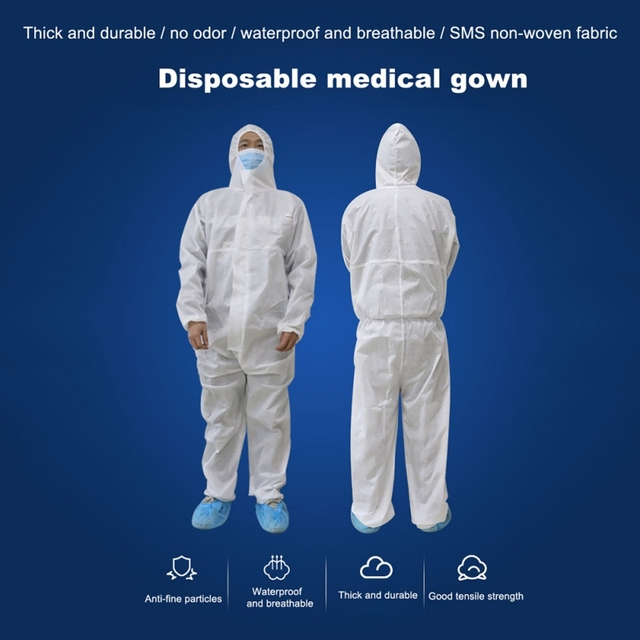 PPE Suit Disposable Isolation Gowns Non Woven Dustproof Onesie Protective Clothing Disposable  Garment Protective Clothing