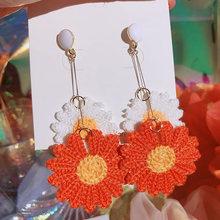 Новые модные серьги подвески с цветком для женщин Разноцветные