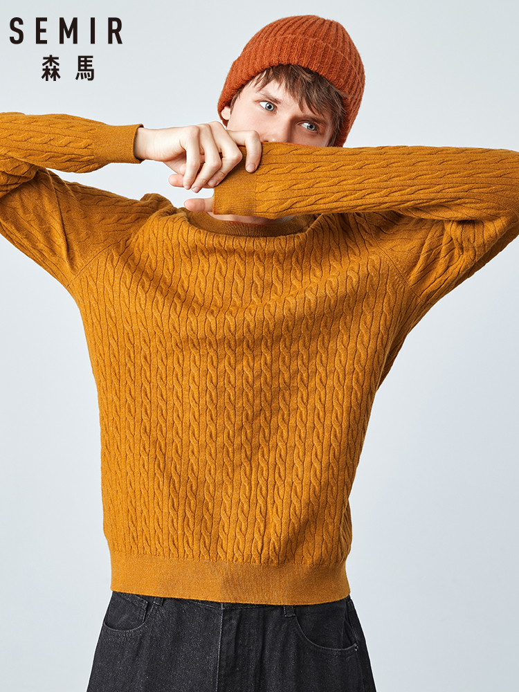 Semir Sweater Men 2019 Autumn New Korean Version Round Neck Twist Sweater Warm Man Clothing Bottoming Shirt Tide