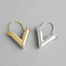 Popular Korean S925 sterling silver fashion temperament simple geometric V triangle earrings brincos