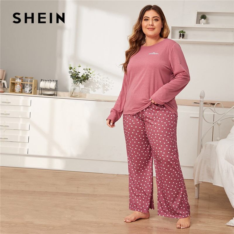 SHEIN Plus Size Pink Letter And Heart Print PJ Set Women Spring Autumn Long Sleeve Casual Sleepwear Pajama Sets