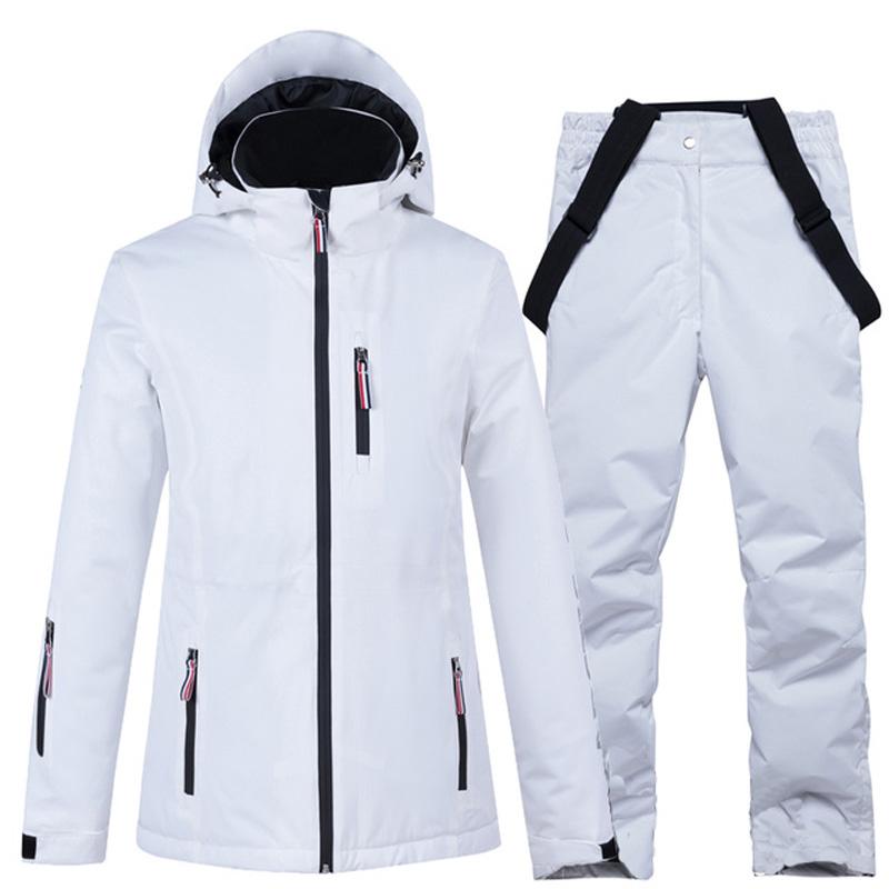 Ski Jackets + Strap Pants Pure White Women\'s Snow Wear Clothing Snowboard Suit Sets Waterproof Windproof Winter Costume -30 Warm