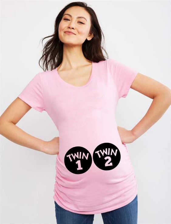 Twin 1 & Twin 2 Vrouwen Moederschap Korte Mouwen Ronde Hals Tie Zwangerschap T-shirt Kleur Kleding Voor Zwangere Vrouwen 2020