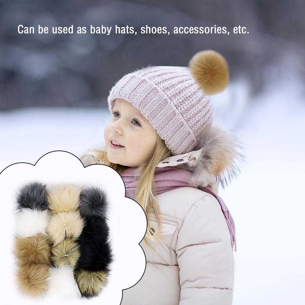 Pompón esponjoso Imitación Piel de mapache 8cm suave DIY aro con lazos accesorios ligereza portabilidad conveniente portador